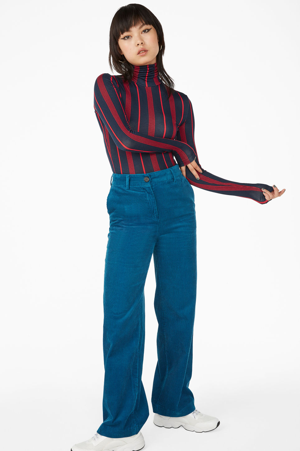 Model front image of Monki corduroy trousers in blue