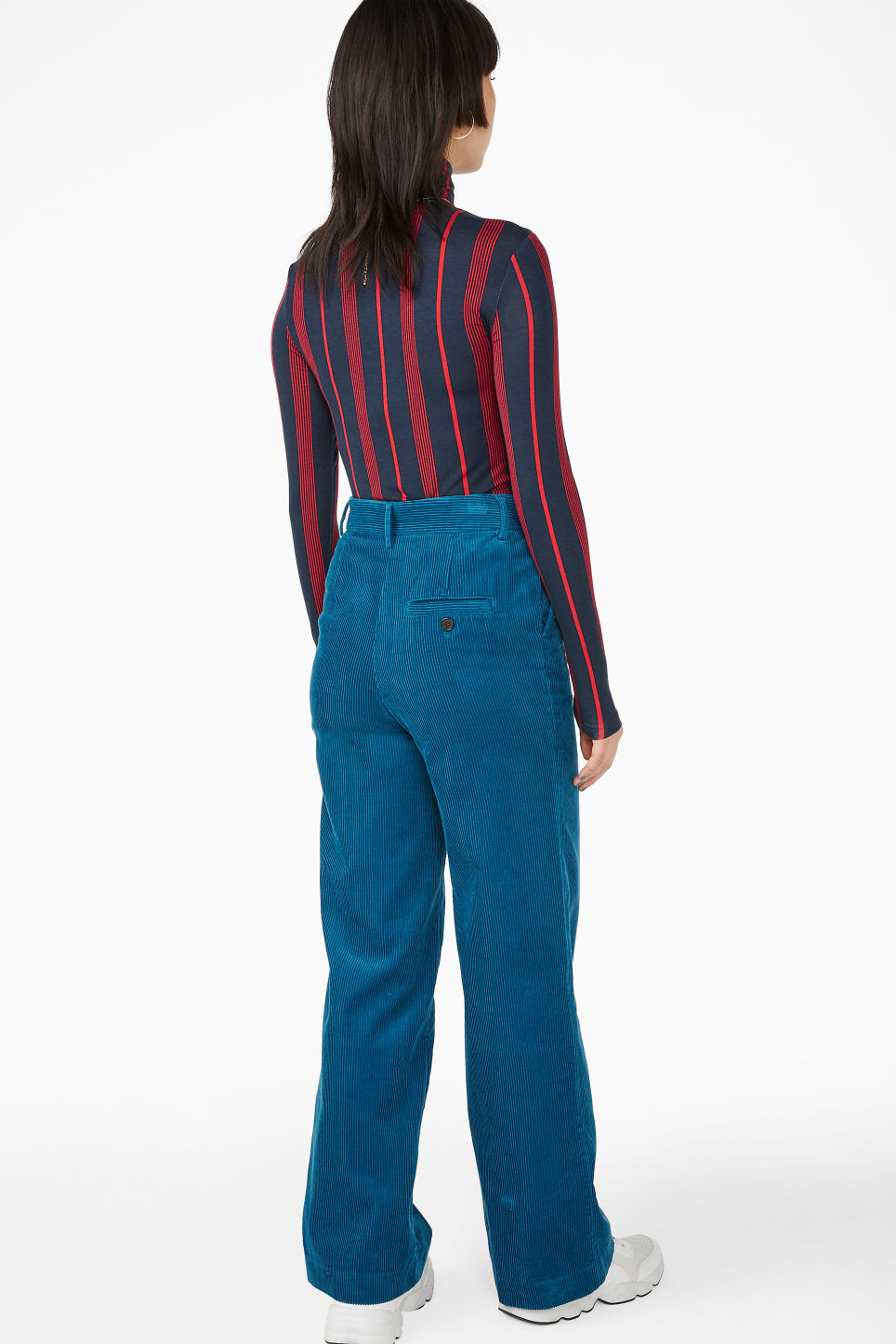 Model back image of Monki corduroy trousers in blue