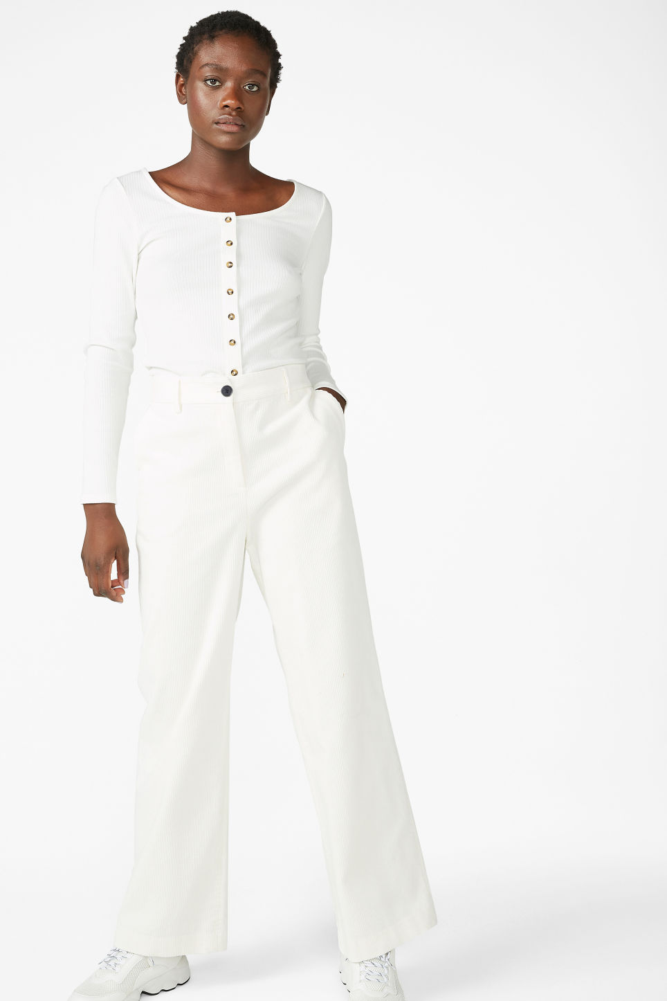 Model front image of Monki corduroy trousers in white