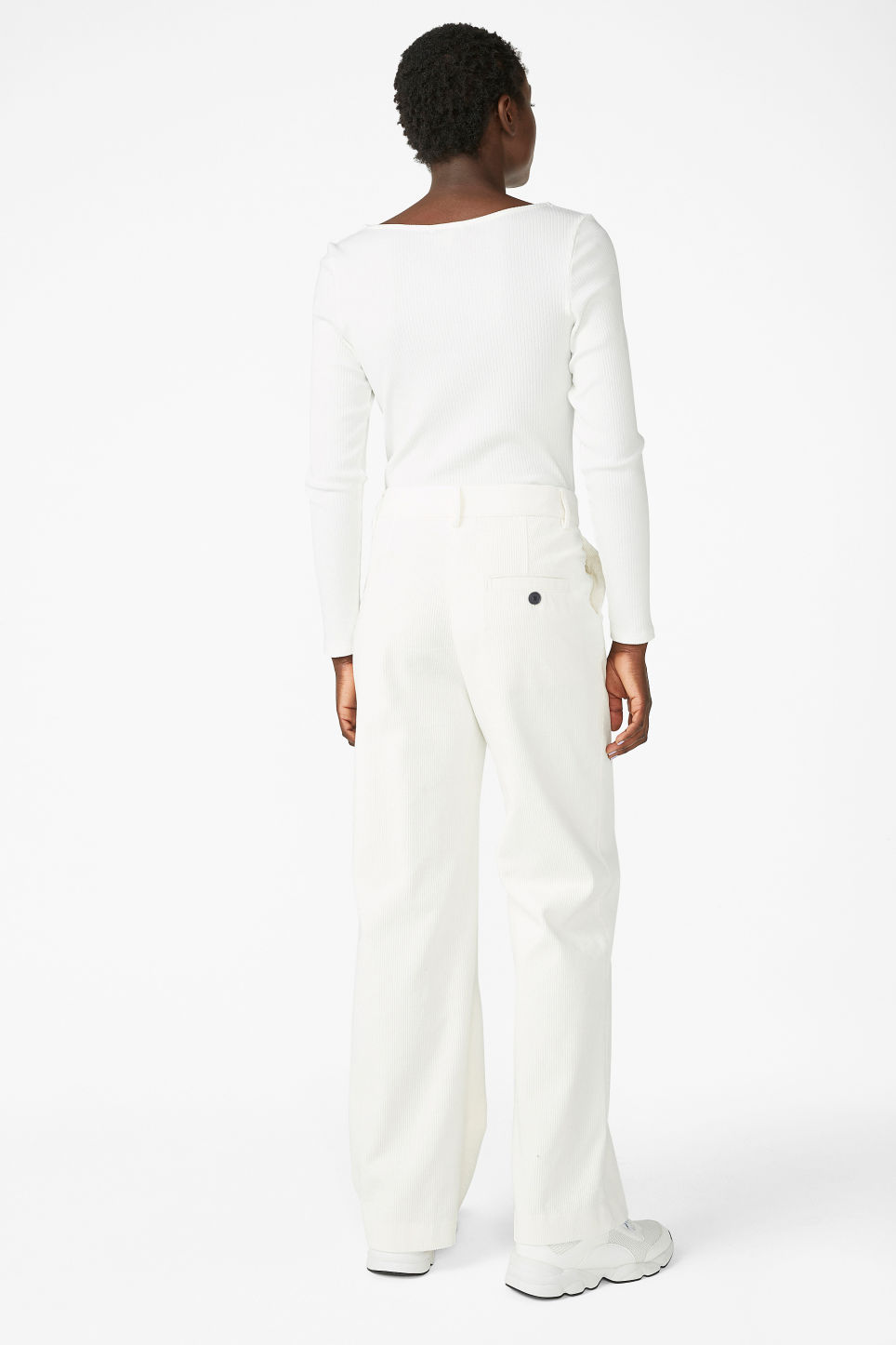 Model back image of Monki corduroy trousers in white