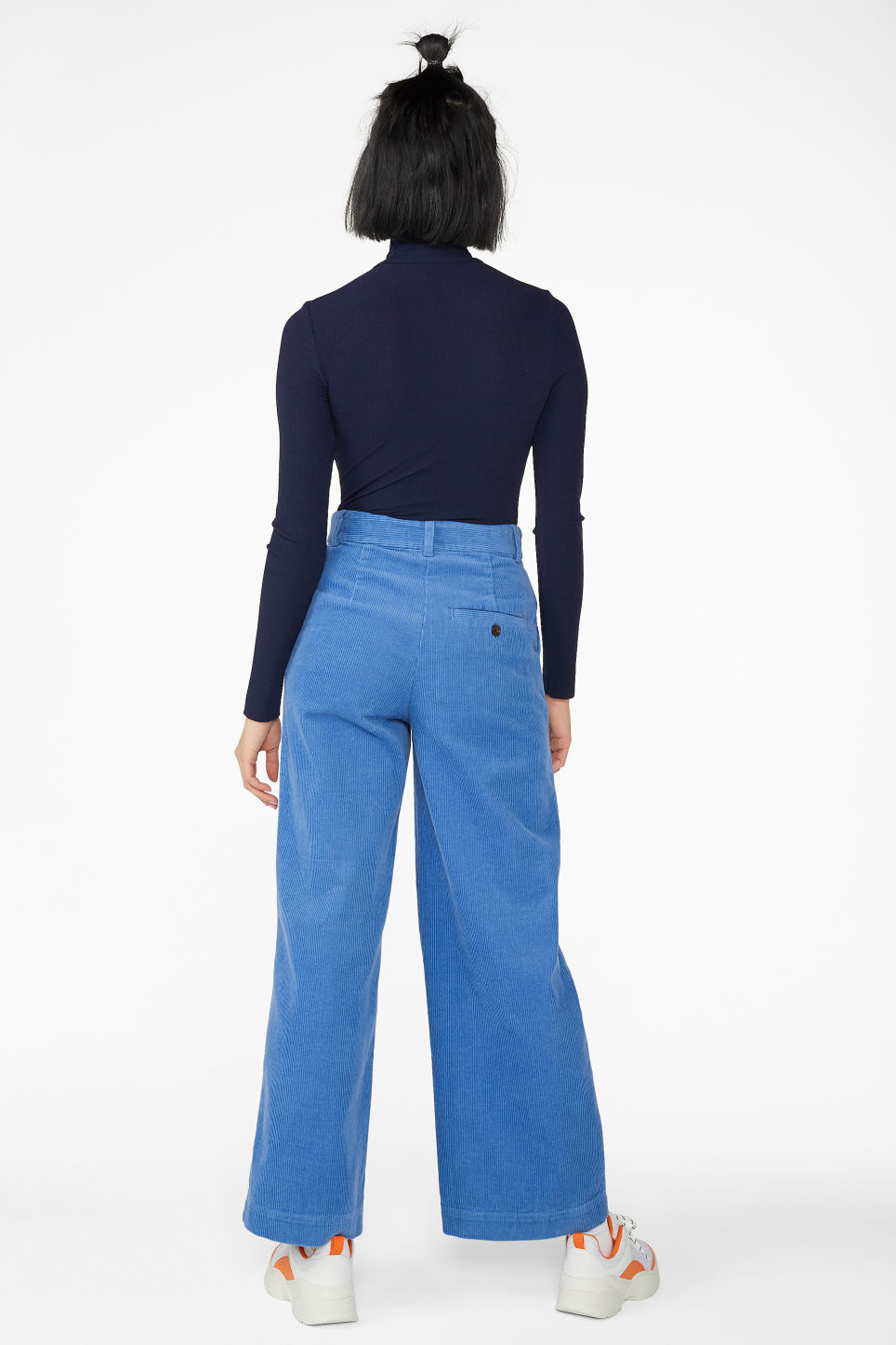 Model back image of Monki wide leg corduroy trousers in blue
