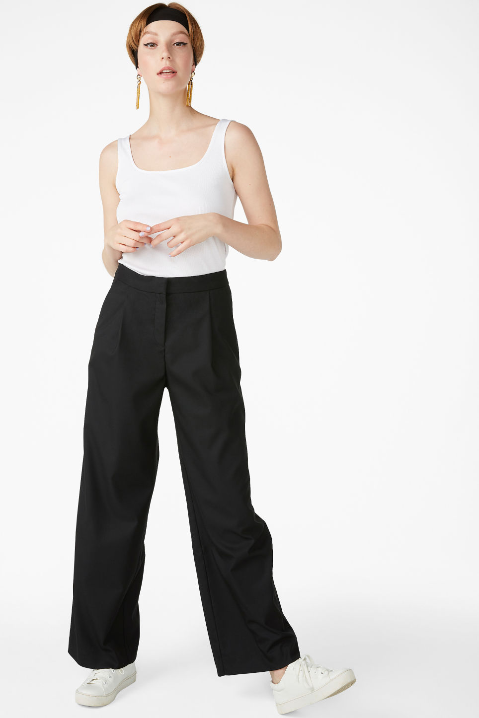 Model front image of Monki long wide trousers in black