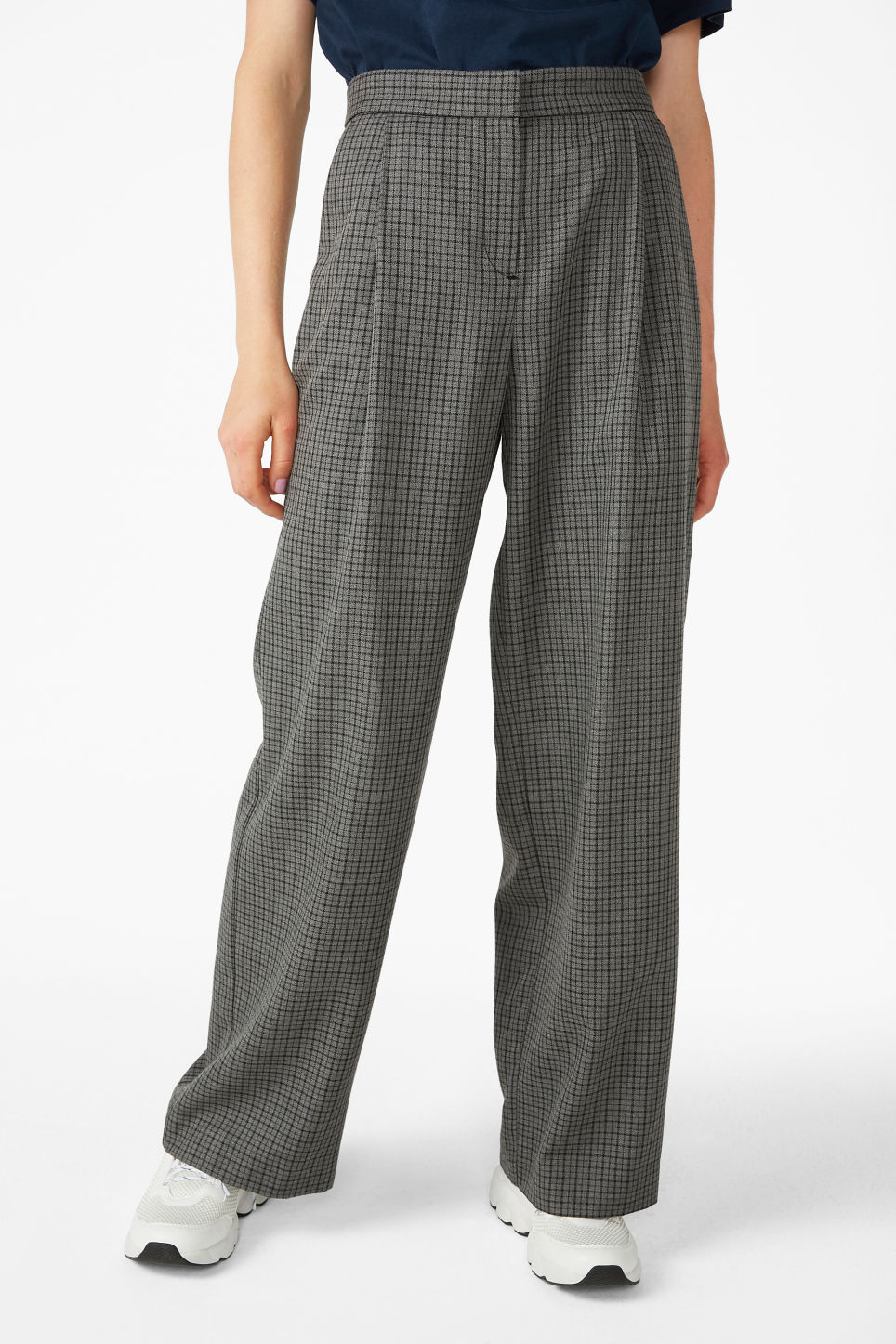 Model side image of Monki high waisted trousers in grey