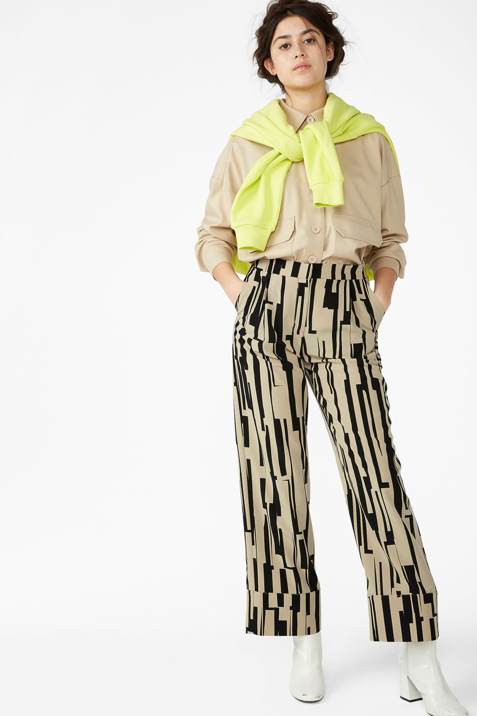 Model front image of Monki high waisted trousers in beige