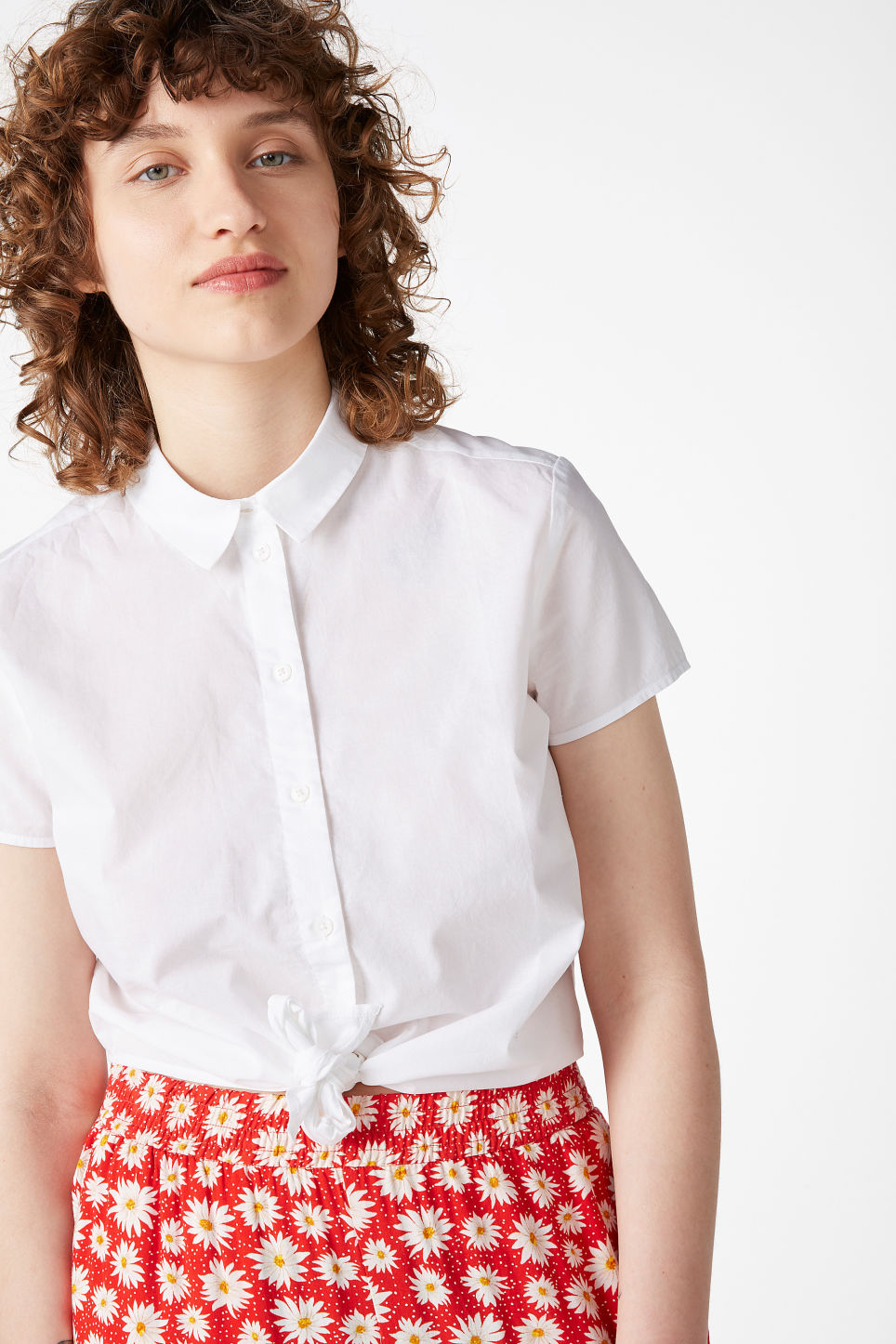 Model front image of Monki front tie blouse in white
