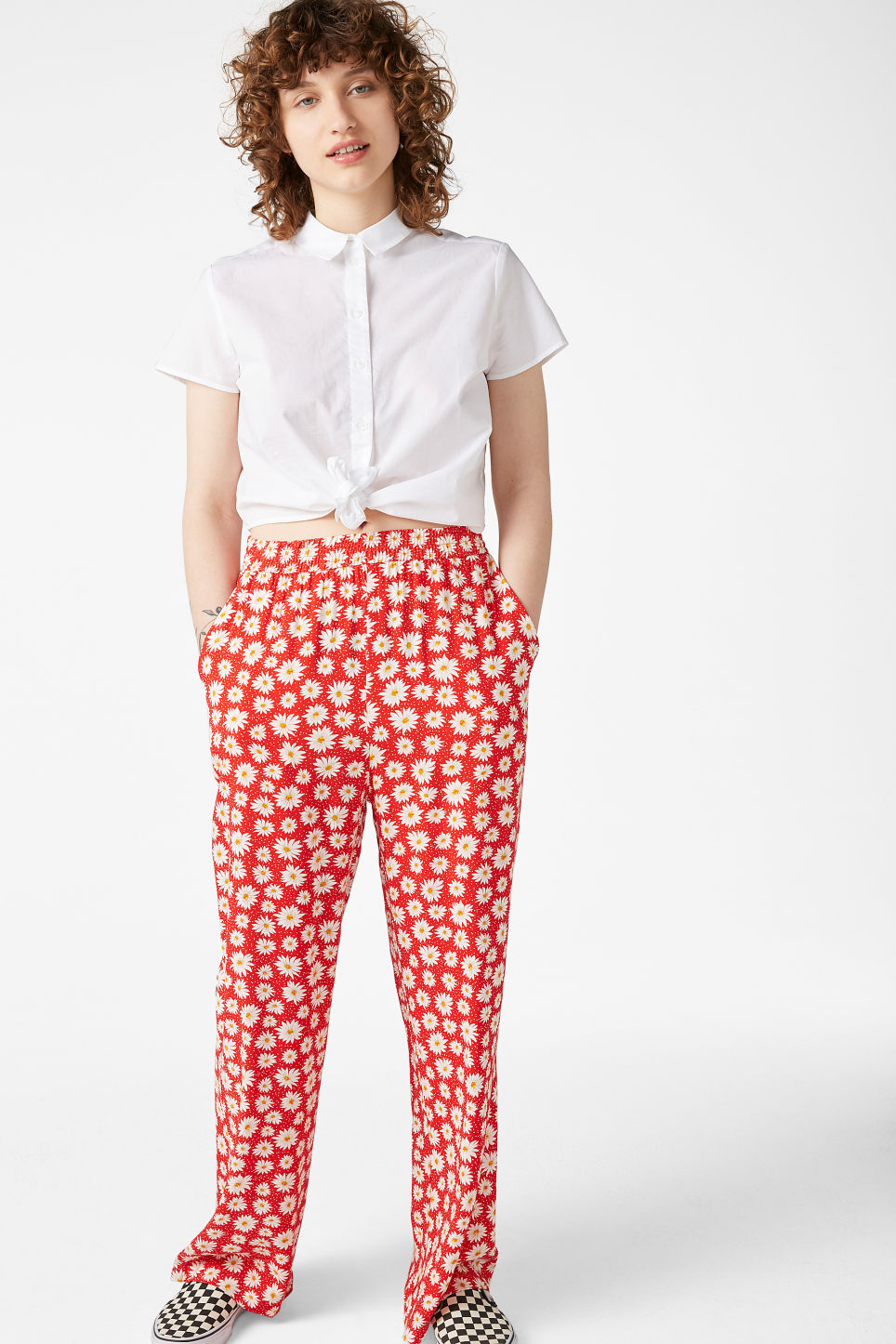 Model side image of Monki front tie blouse in white