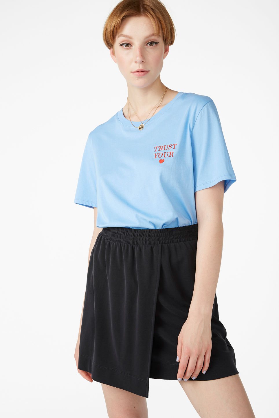 Model front image of Monki super-soft micro wrap skirt in black