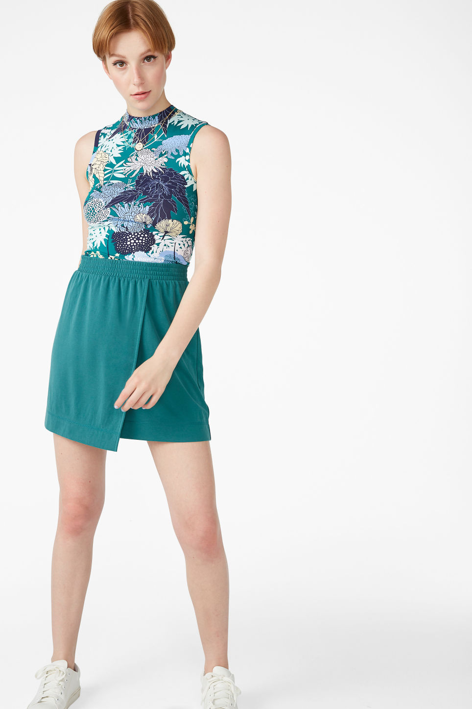 Model front image of Monki super-soft micro wrap skirt in green