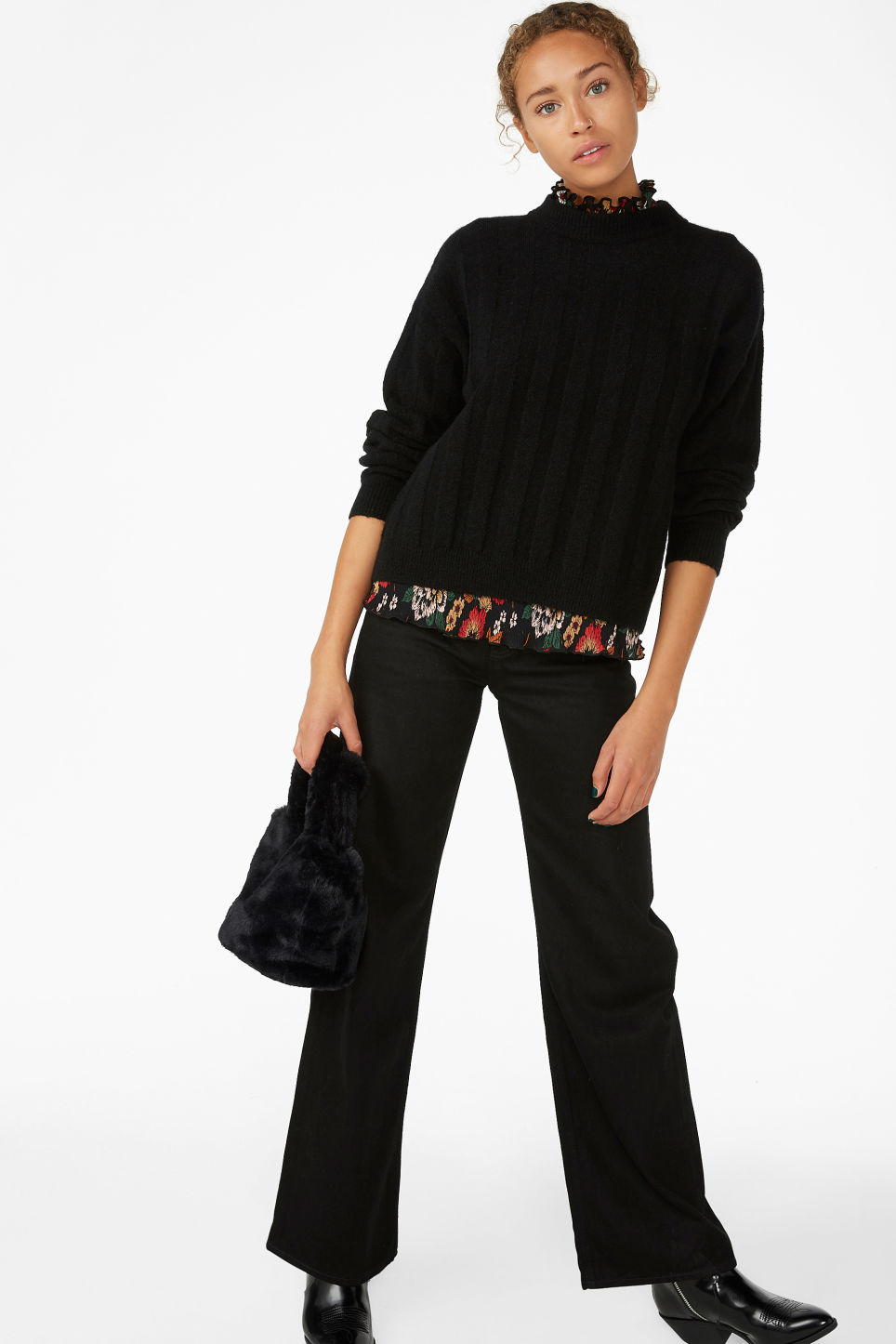 Model front image of Monki ribbed-knit top in black