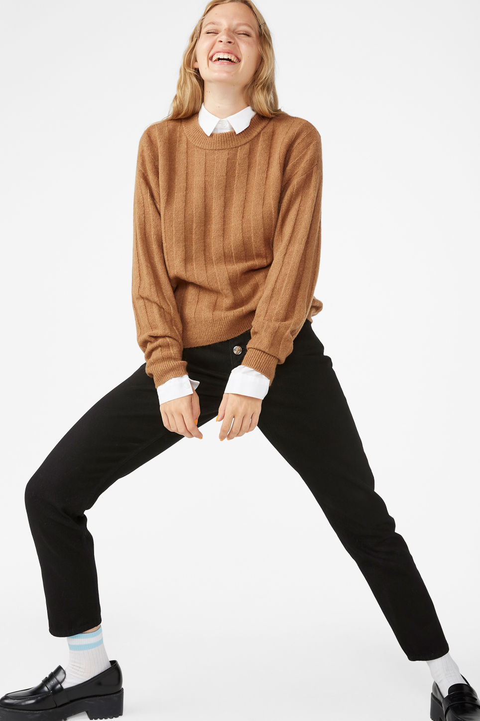 Model front image of Monki ribbed-knit top in beige