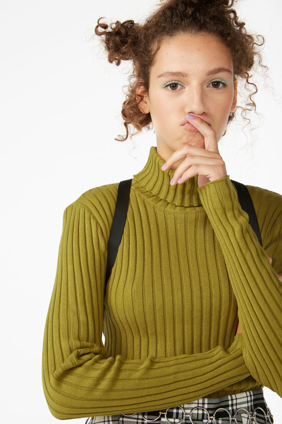 Model front image of Monki ribbed turtleneck in yellow