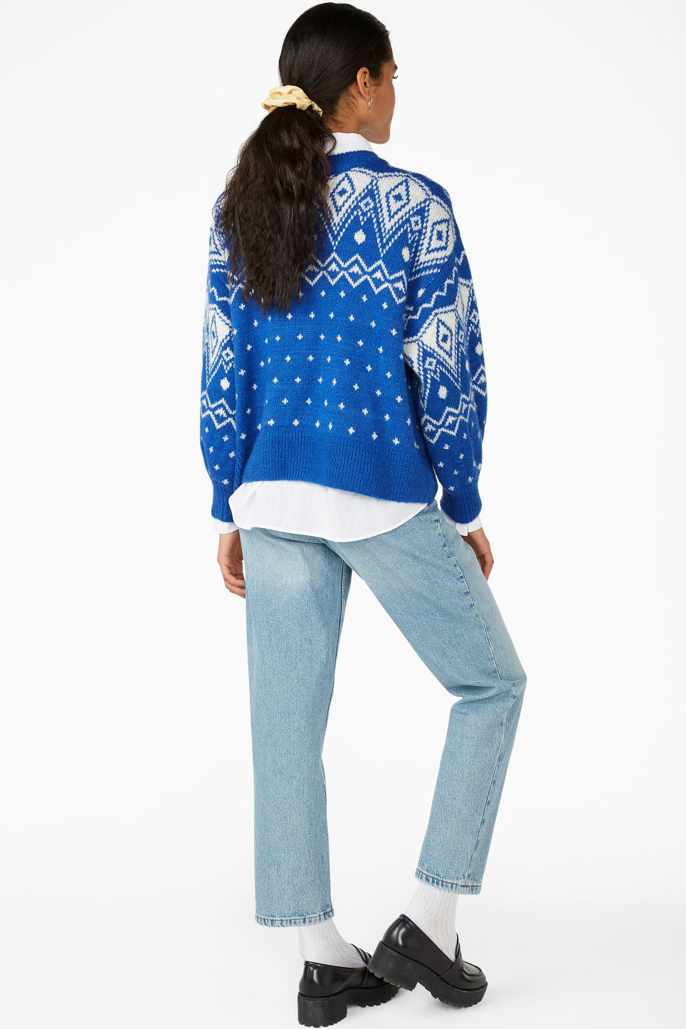 Model back image of Monki chunky knit sweater in blue