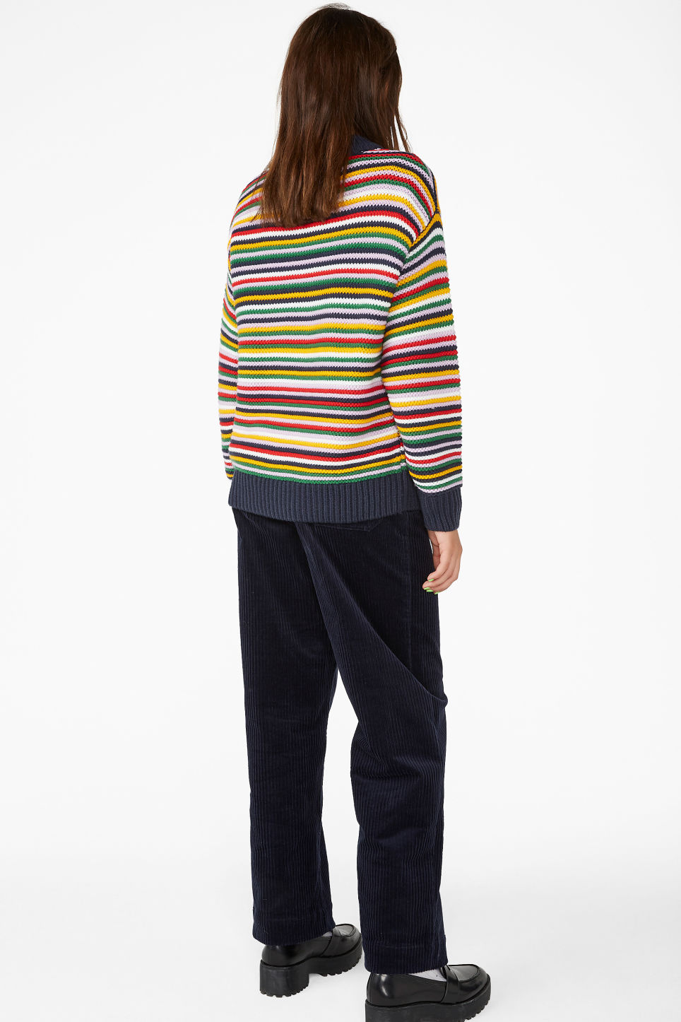 Model back image of Monki striped knit sweater in red