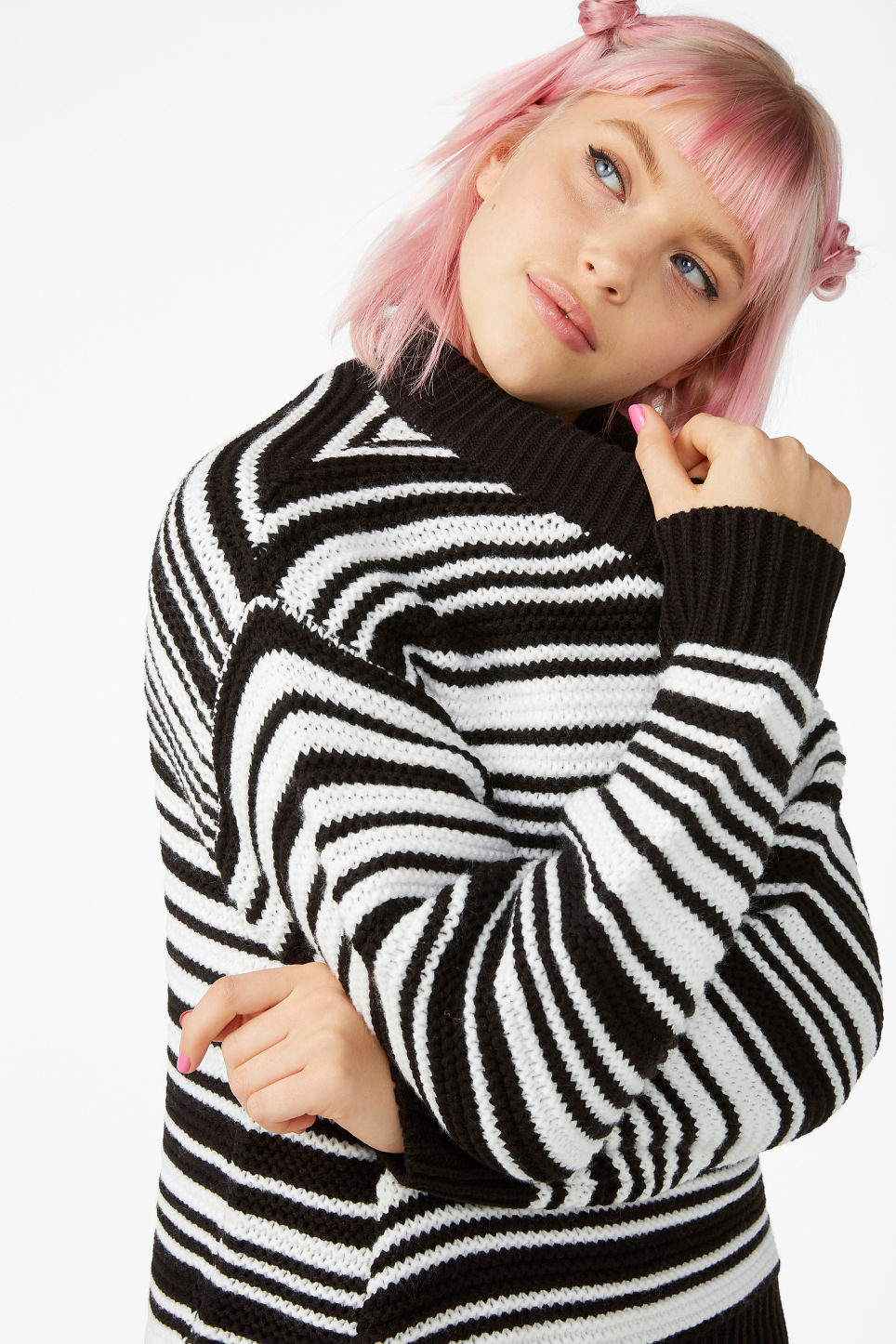 Model front image of Monki striped knit sweater in black