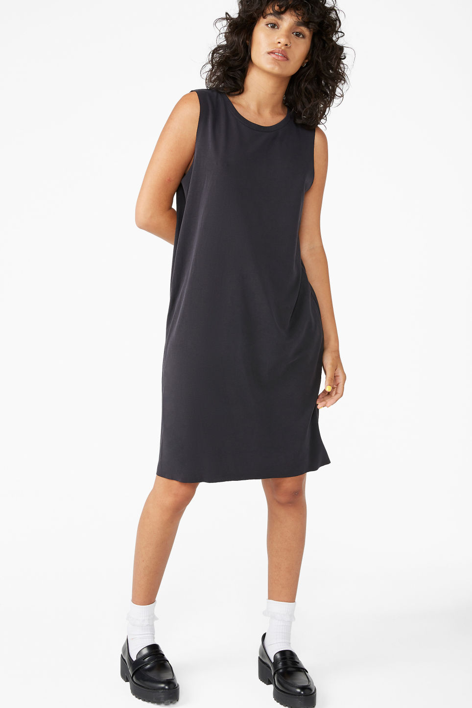 Model front image of Monki super-soft dress in black