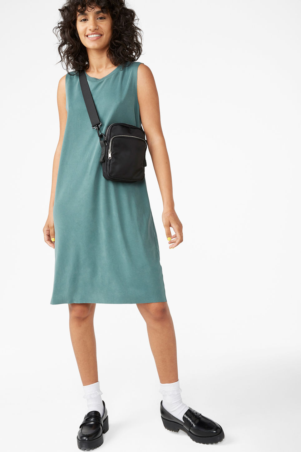 Model front image of Monki super-soft dress in green