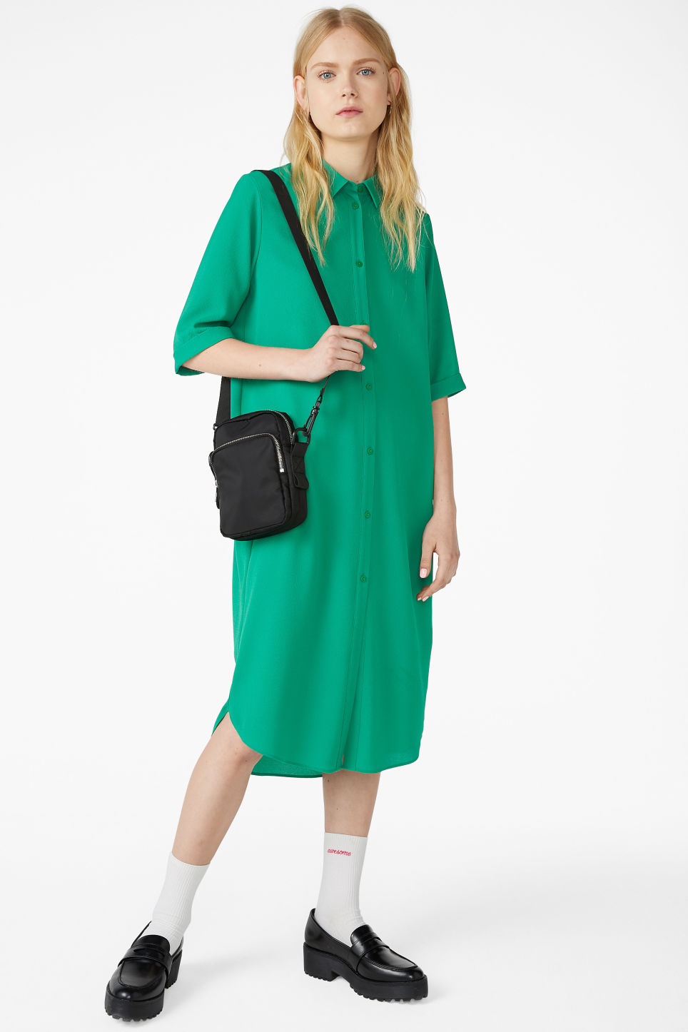 Model front image of Monki button-up shirt dress in green