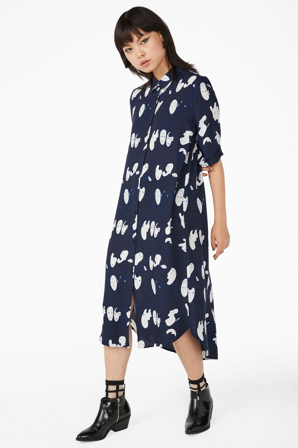 Model front image of Monki button-up shirt dress in blue