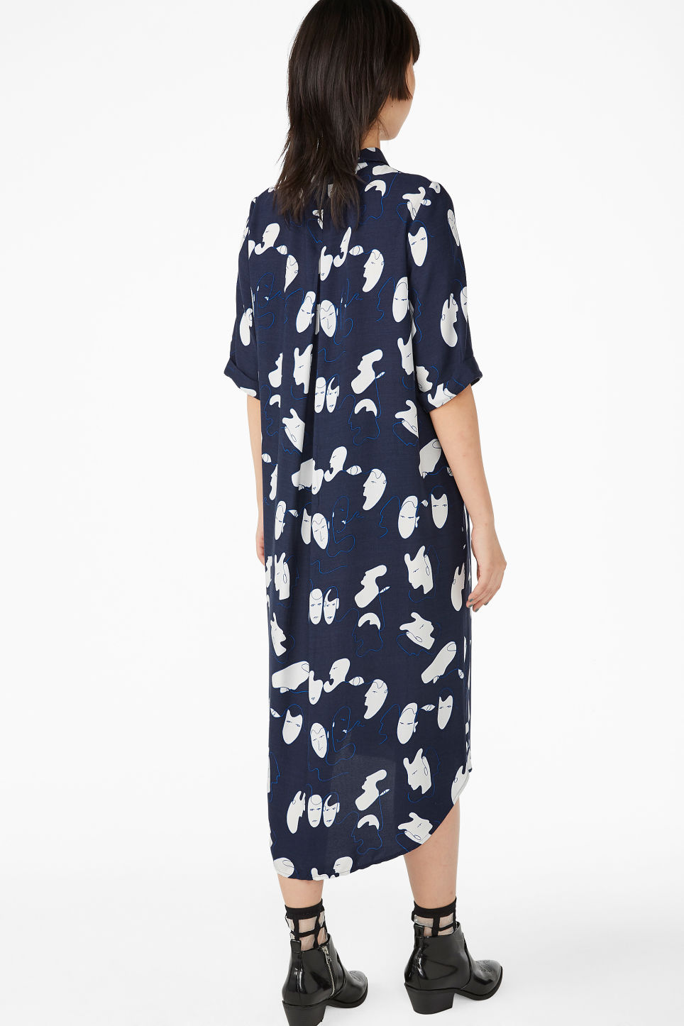 Model back image of Monki button-up shirt dress in blue
