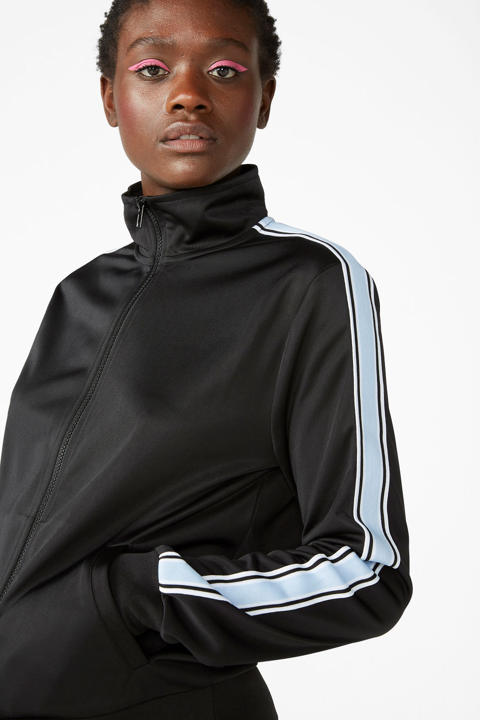 Model front image of Monki zip tracksuit jacket in black