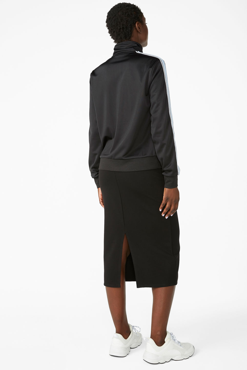 Model back image of Monki zip tracksuit jacket in black