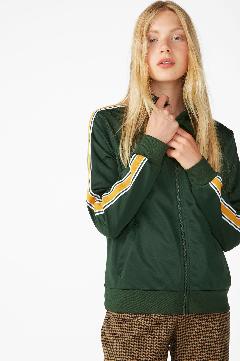 Model front image of Monki zip tracksuit jacket in green