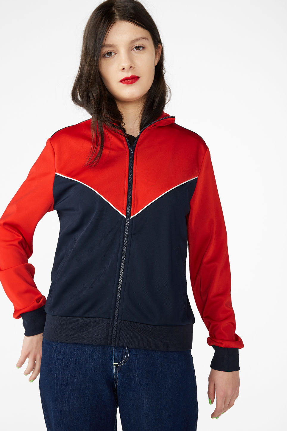 Model front image of Monki zip tracksuit jacket in red
