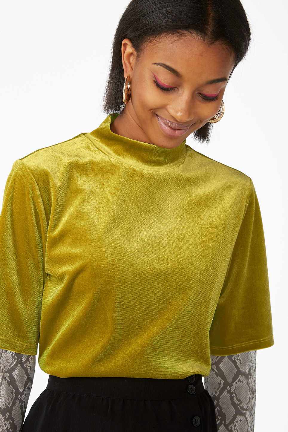 Model front image of Monki velvet top in yellow