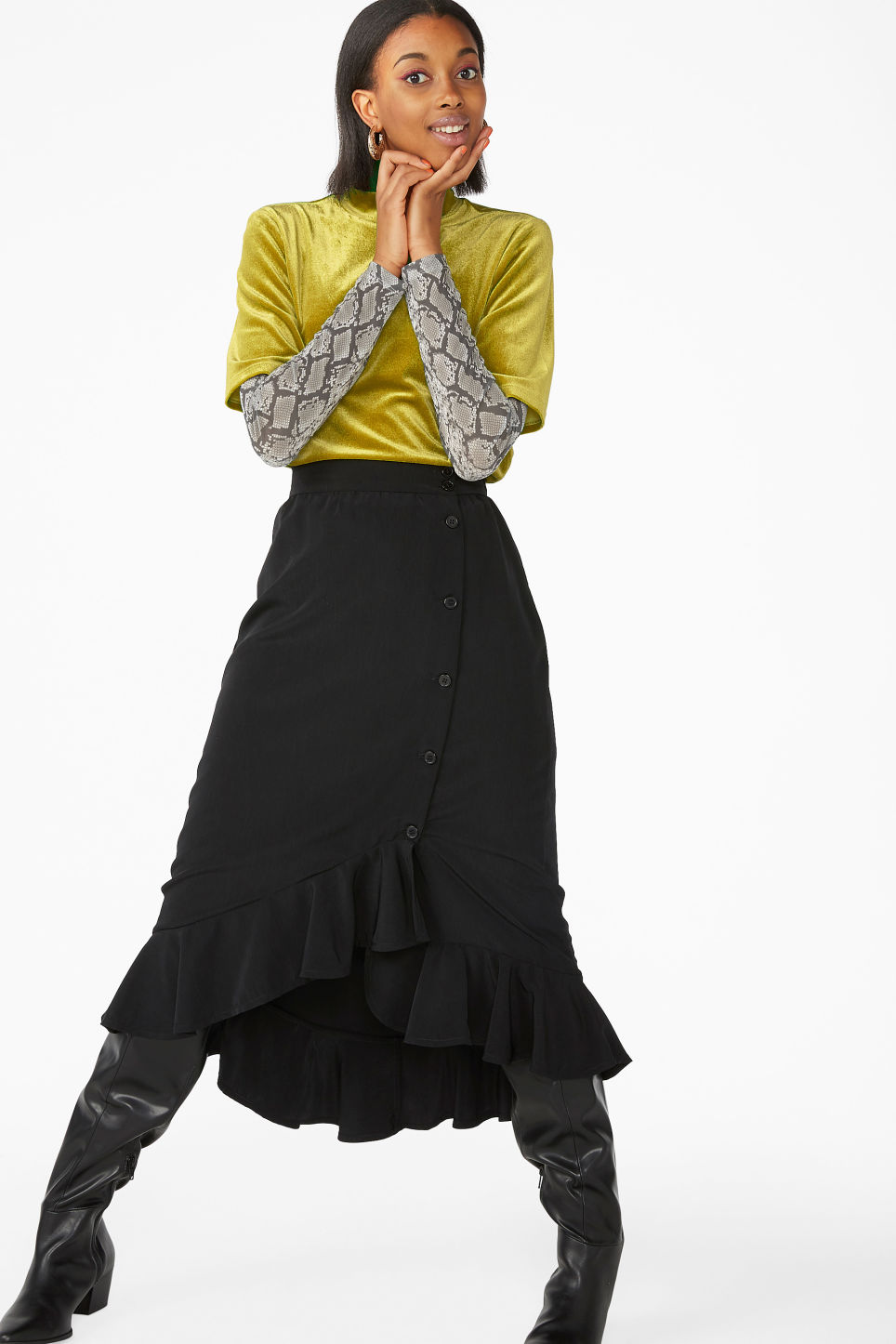 Model side image of Monki velvet top in yellow