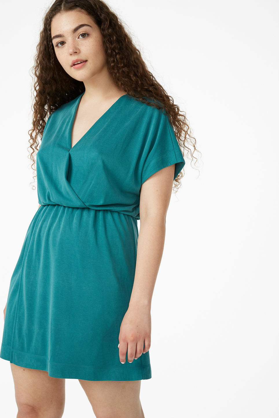 Model front image of Monki super-soft mini wrap dress in green
