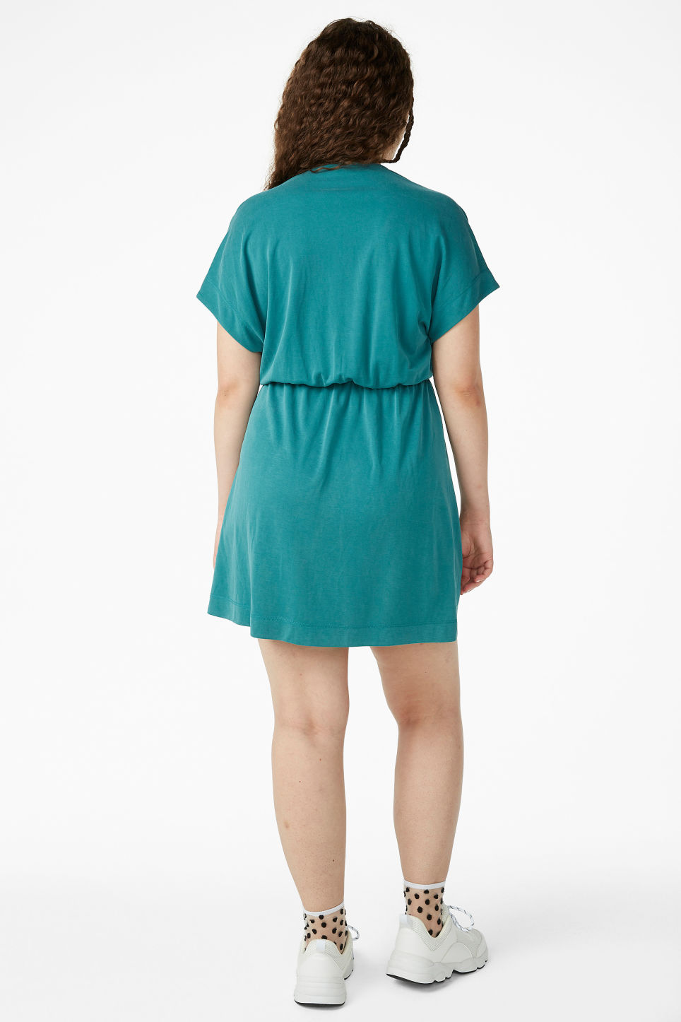 Model back image of Monki super-soft mini wrap dress in green