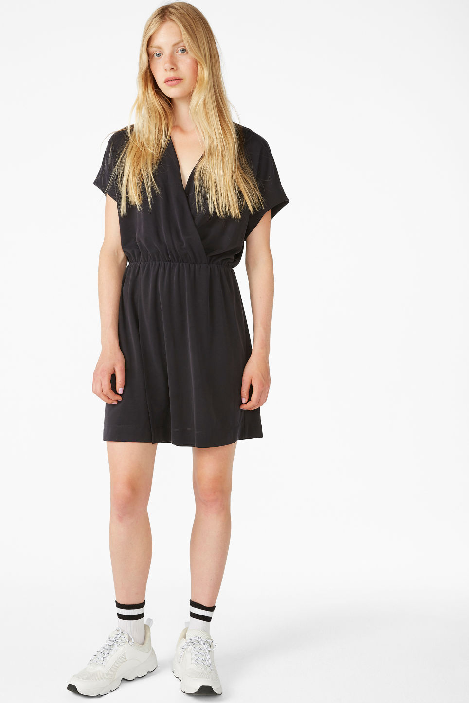Model front image of Monki super-soft mini wrap dress in black