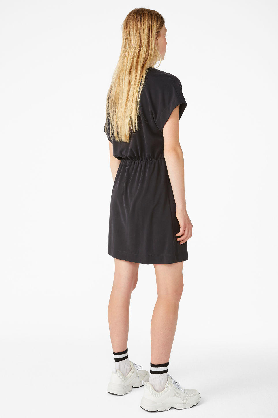 Model back image of Monki super-soft mini wrap dress in black