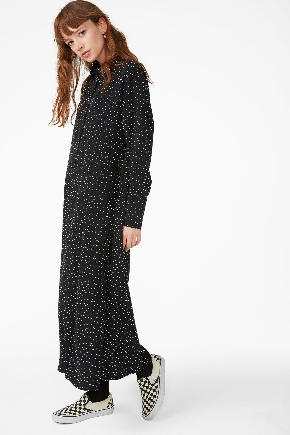 Model front image of Monki maxi shirt dress in black