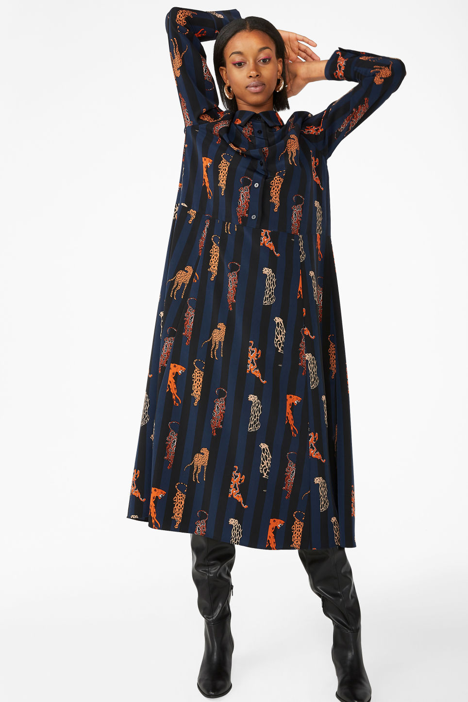 Model front image of Monki maxi shirt dress in blue