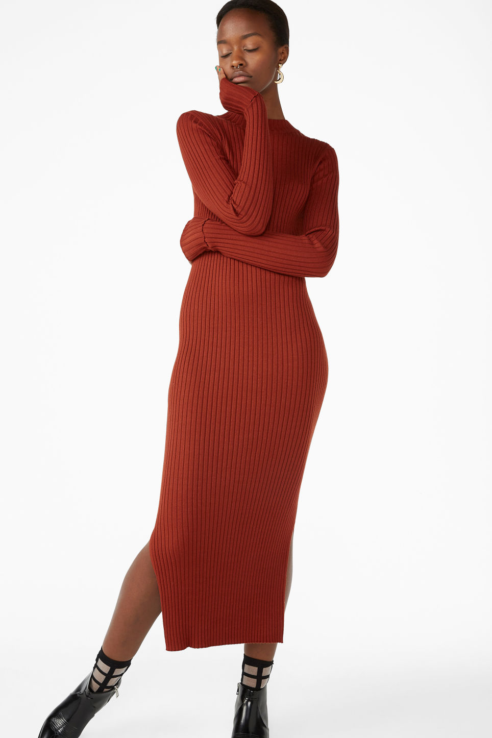 Model front image of Monki long ribbed dress in orange