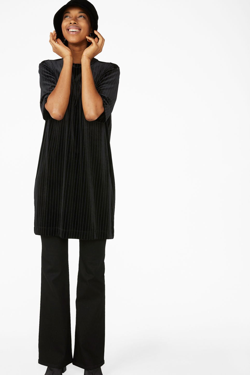 Model front image of Monki t-shirt dress in black