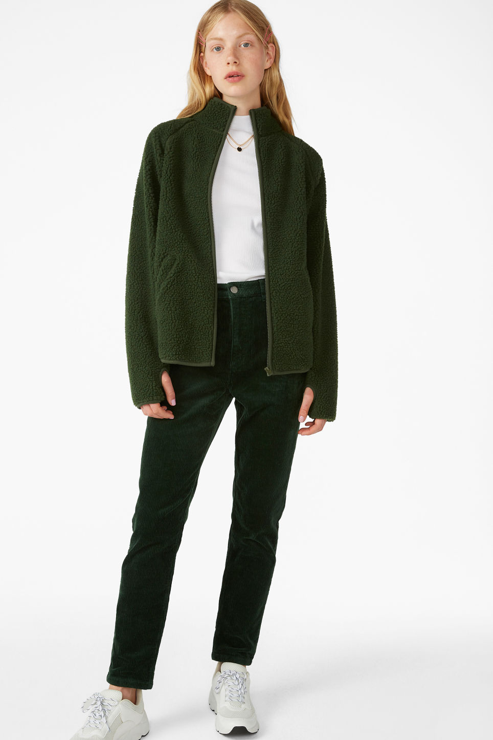 Model front image of Monki zip fleece sweater in green