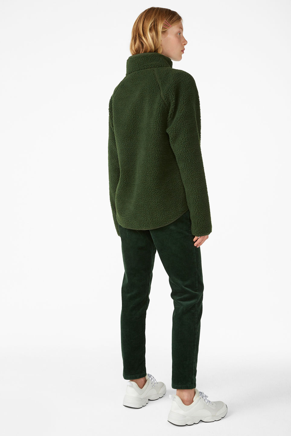 Model back image of Monki zip fleece sweater in green