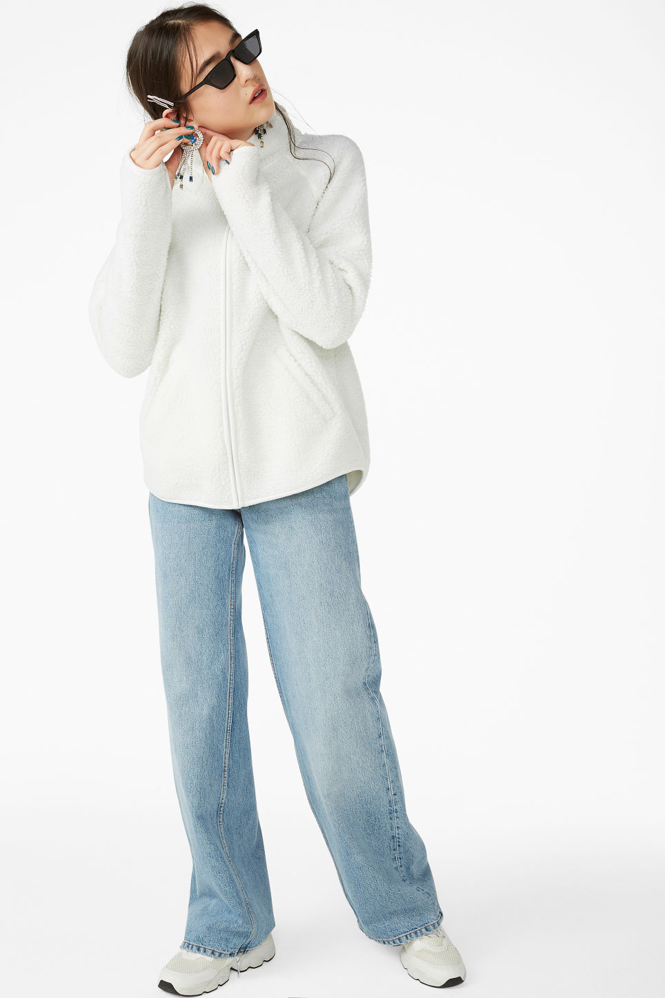 Model front image of Monki zip fleece sweater in white