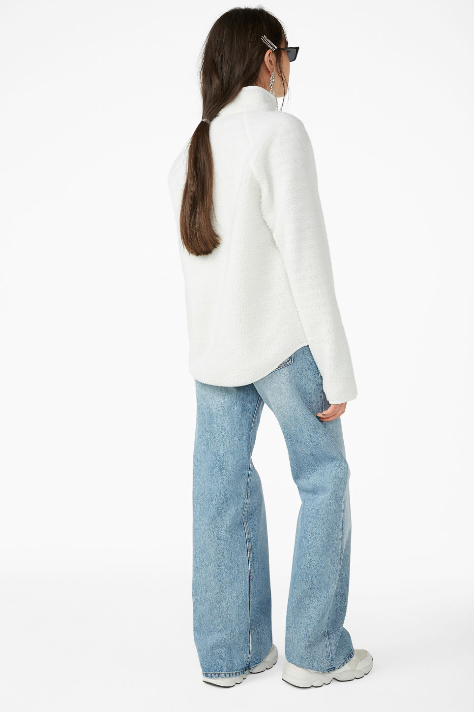 Model back image of Monki zip fleece sweater in white