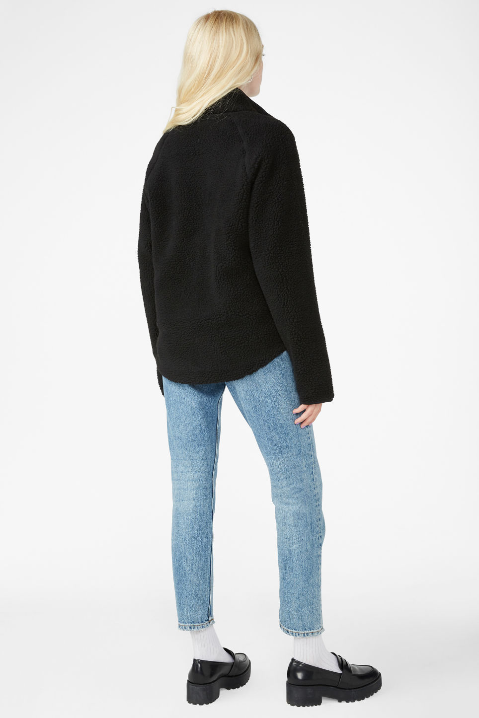 Model back image of Monki zip fleece sweater in black