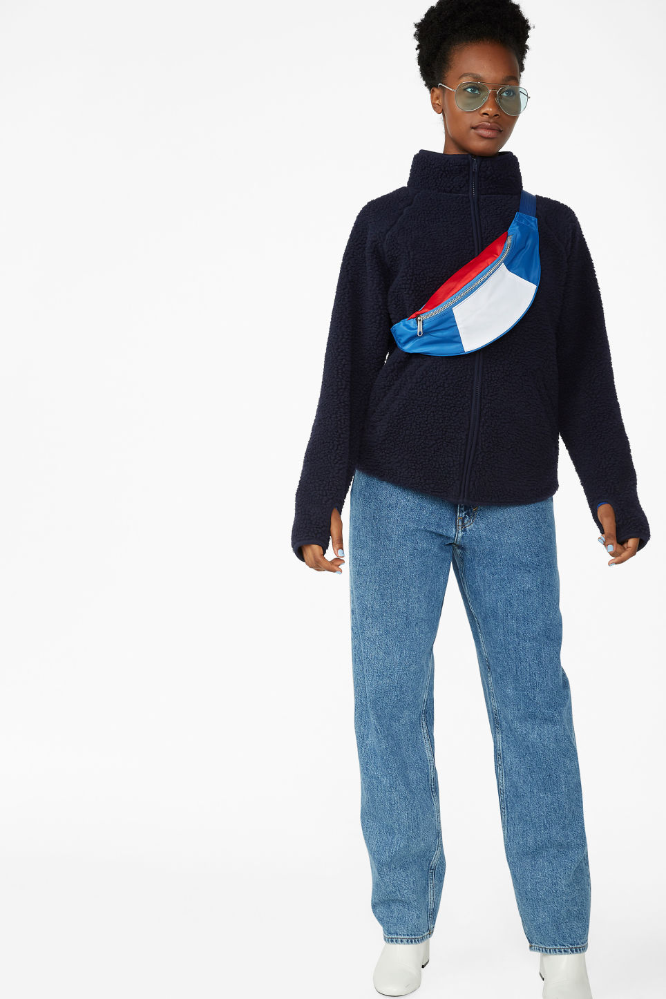 Model front image of Monki zip teddy sweater in blue