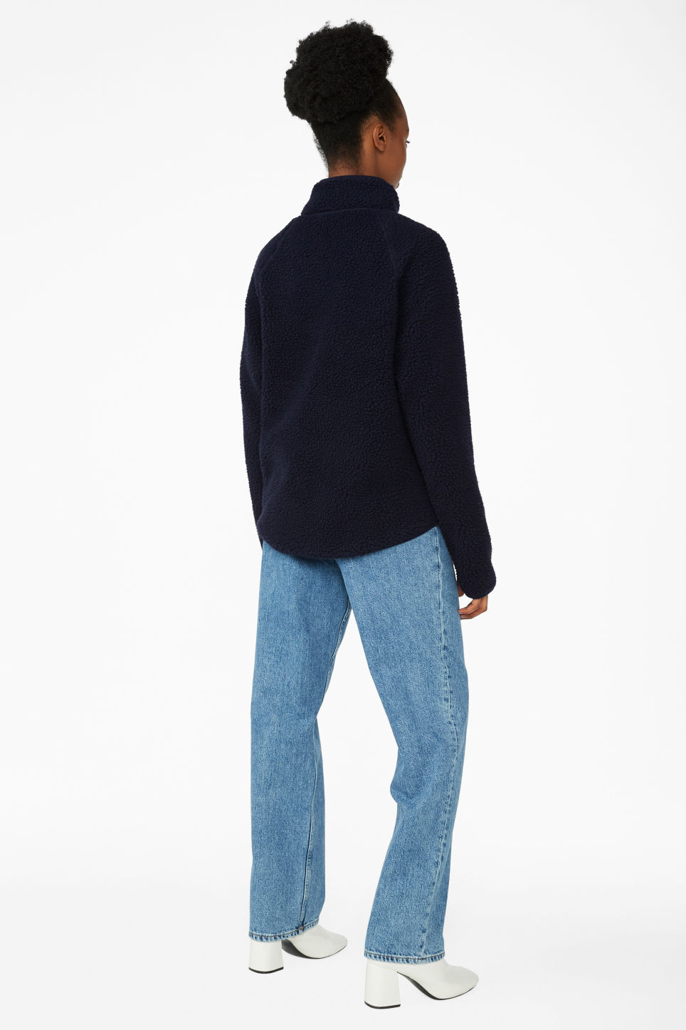 Model back image of Monki zip teddy sweater in blue