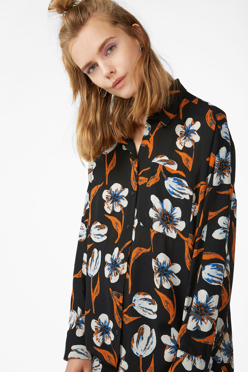 Model front image of Monki oversized blouse in black