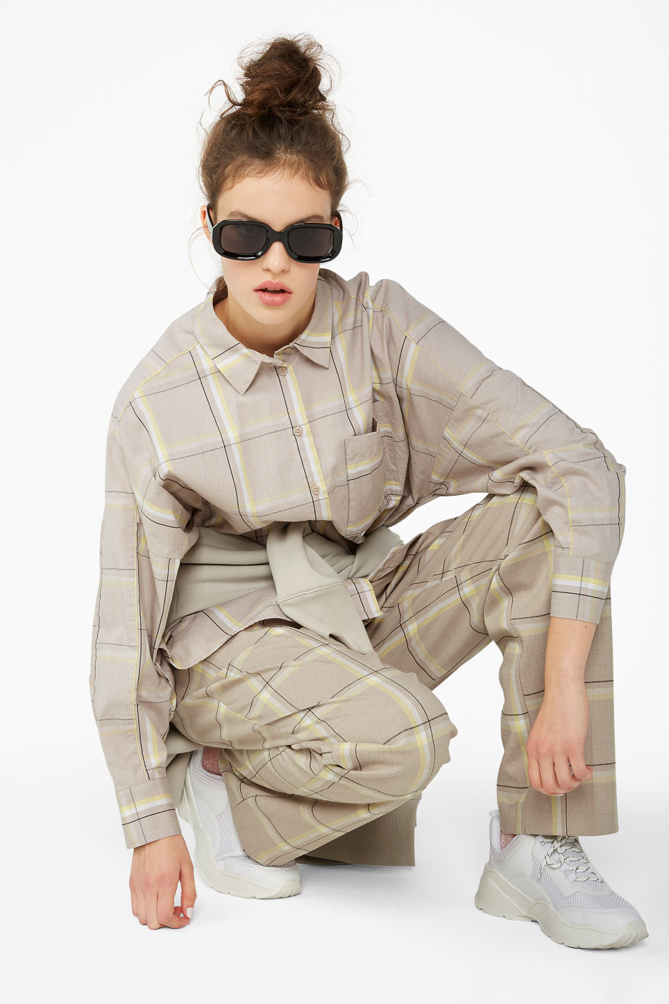Model front image of Monki oversized button-up blouse in beige