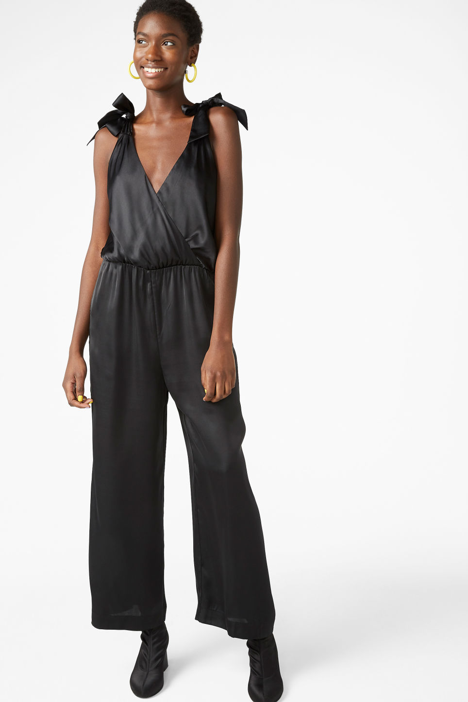 Model front image of Monki silky jumpsuit in black