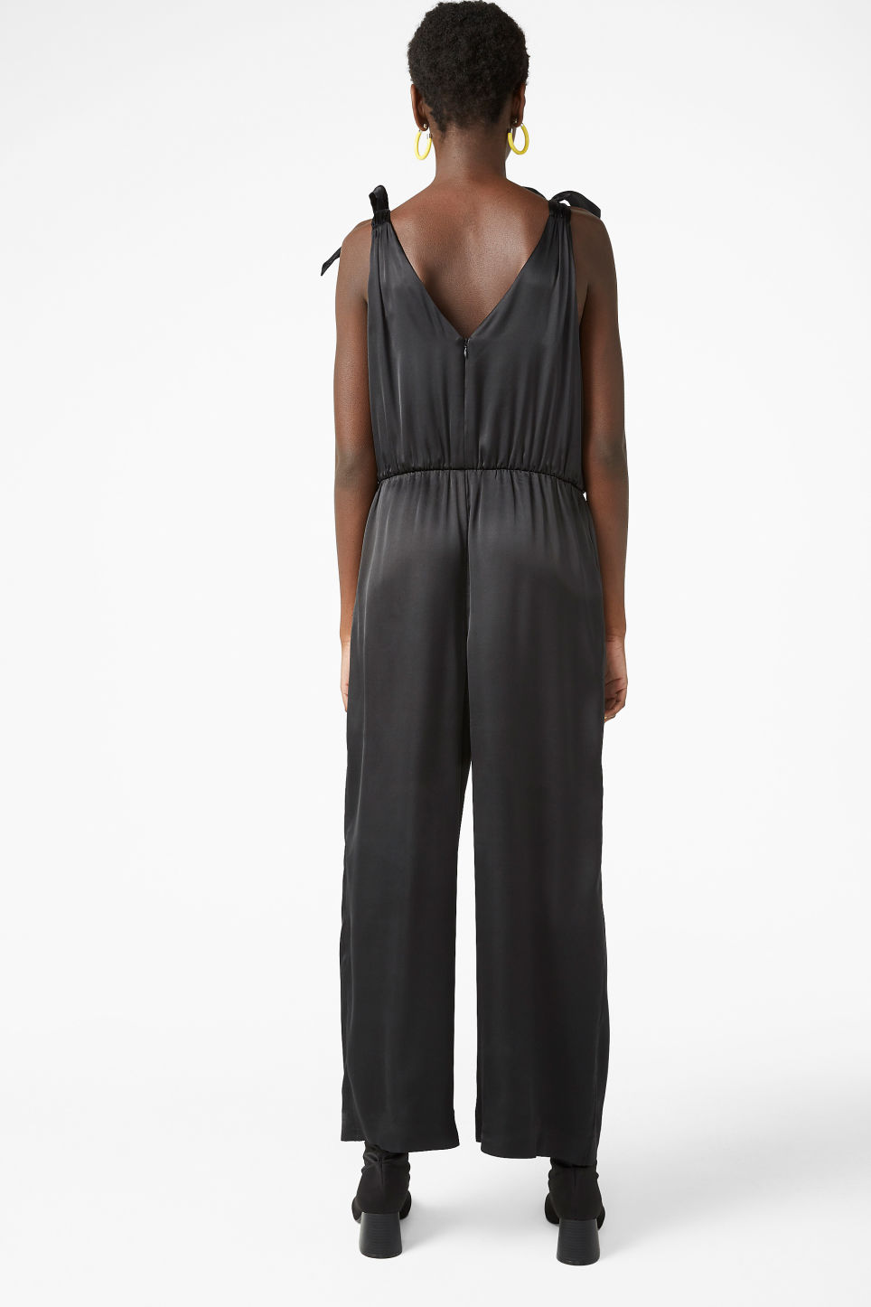 Model back image of Monki silky jumpsuit in black