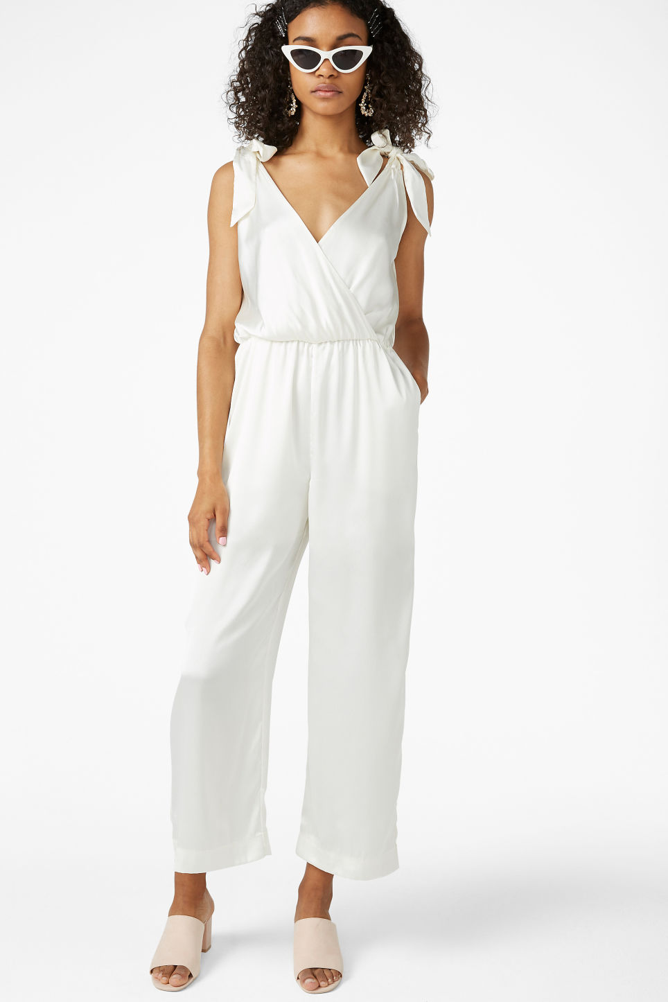 Model front image of Monki silky jumpsuit in white