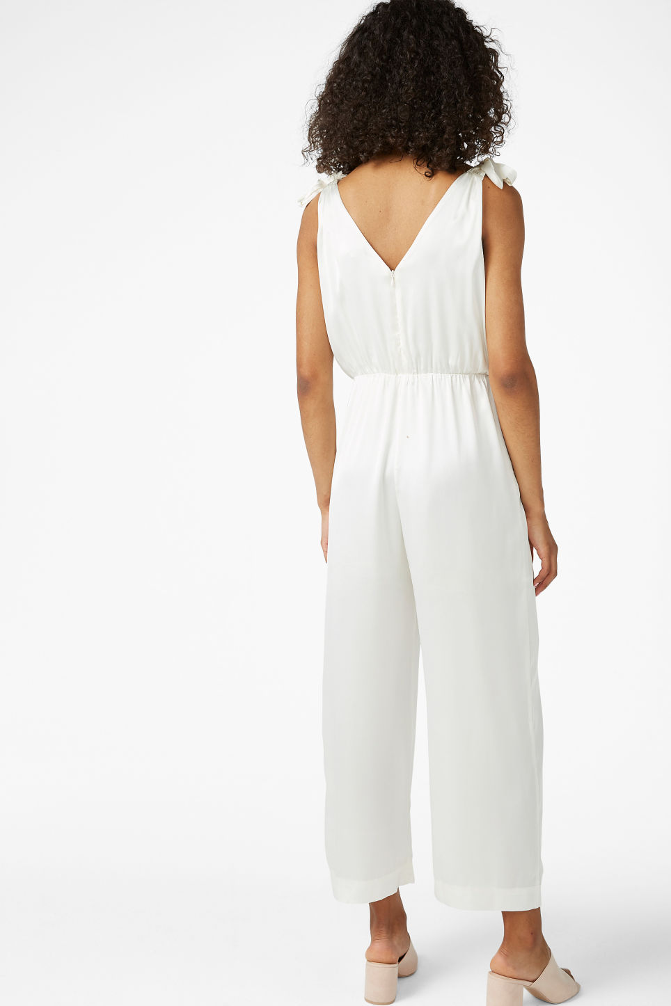 Model back image of Monki silky jumpsuit in white